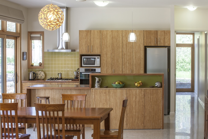 wooden kitchen and dining area