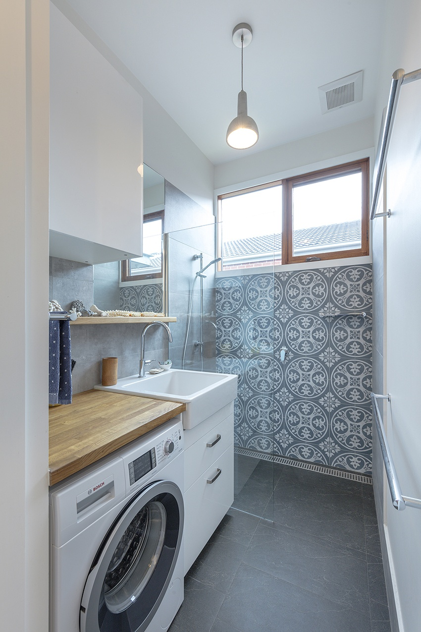 bathroom and laundry with beautiful tiles
