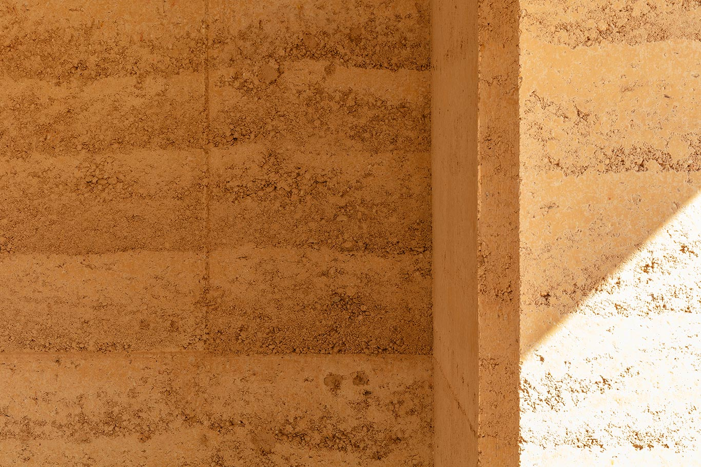 rammed earth wall close-up
