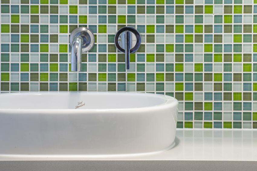 bathroom green tiling detail